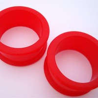 Red Silicone Tunnels (6 gauge - 2 inch)