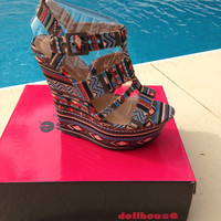 Tribal Wedge shoes