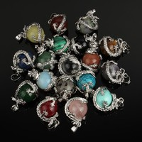 Dragon Pendant Natural Stone Round Bead Charms