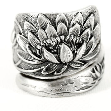 Lotus Flower Ring, Sterling Silver Spoon Ring, Stunning Pond Lily Ring, Pond Lilly, Art Nouveau Ring, Handmade Jewelry, Adjustable Ring Size