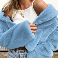 New Light Blue Turndown Collar Long Sleeve Fashion Teddy Coat