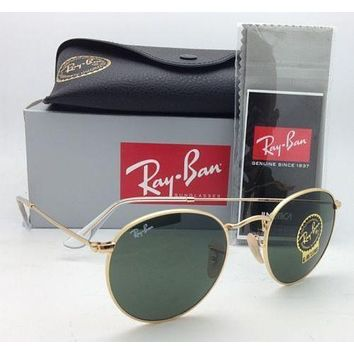 Tagre™ Cheap NEW Ray Ban Sunglasses 3447 001 round Metal Johan Lennon Gold Frame green lens outlet