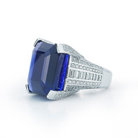 66.44 Carat Royal Blue Unheated Tanzanite Diamond Gold Ring