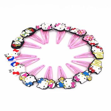 10PCS/Lot Kawaii Cartoon Hello Kitty Pink Hair Clip Girls Children Hair Accessories Clip Hair Pins Kids Headwear Hairpins