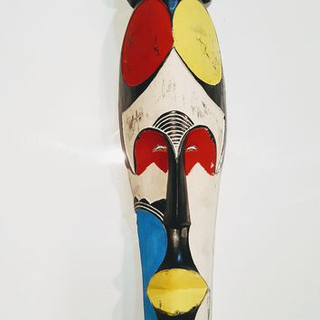 "25"" African Gabon Cameroon Wood Fang Mask: Multicolor"