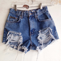 Vintage Calvin Klein High Waisted Shorts Distressed Denim Shorts Tumblr Hipster