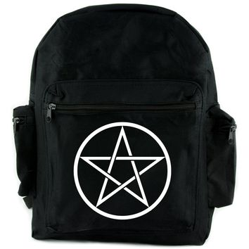 White Woven Pentacle Backpack School Bag Witch Occult