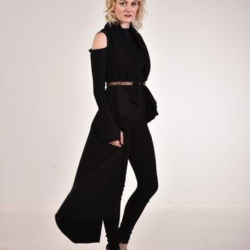 Cold Shoulder Tunic Black Luxe