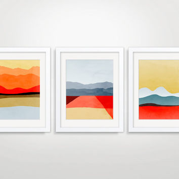 SALE Mid Century Modern Art Prints, Wall Art Collection, Abstract Landscape, Wall Decor, Set of 3