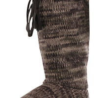 Mukluks Basic Rib Tall Tie Sweater Boots Slippers