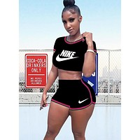NIKE Summer Fashion New Letter Hook Print Sports Top And Shorts Two Piece Suit Women Black