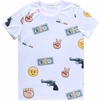 White 3D Emoji Gun Print Short Sleeve Graphic T-shirt