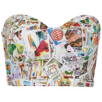ROMWE | Stamps Print Bandeau, The Latest Street Fashion