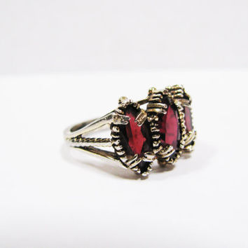 Garnet Ring - Vintage Sterling Silver w Gold Plate Garnet Ring - 3 Stone Marquise Cut - Christmas Gift
