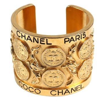 Chanel Vintage Gold Coin Cuff Bracelet
