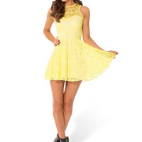Lace Skater Dress In Lemon Yellow