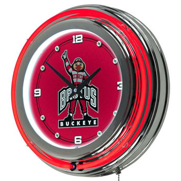The Ohio State University Neon Clock - 14 inch Diameter