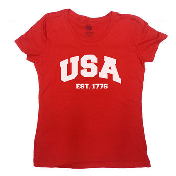 USA T-Shirt USA Established 1776 July 4th T-Shirt Fourth of July TShirt USA America T-Shirt Patriotic T-Shirt Mens Tee Ladies Tee - SA280