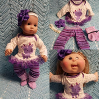 "Baby Doll Clothes to fit 15 inch doll ""Purple Reindeer"" Will fit Bitty Baby®  doll outfit dress leggings socks handmade j4a"