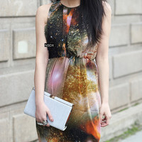 Galaxy/ Cosmic/ Nebula/ Space Maxi Chiffon Dress