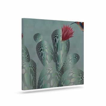 "Angelo Cerantola ""Hummingbird And Cactus"" Green Red Animals Floral Illustration Painting Art Canvas"
