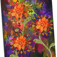 Abstract Art Flower Print Framed or Mirror Wrapped Canvas