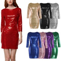 NIGHTCLUB SEQUINED BACKLESS DRESS