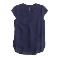 TALL DRAPEY OXFORD CREPE CAP-SLEEVE TOP