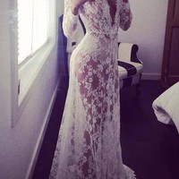 Streetstyle  Casual White Lace Dress Vintage Night Robe Gown