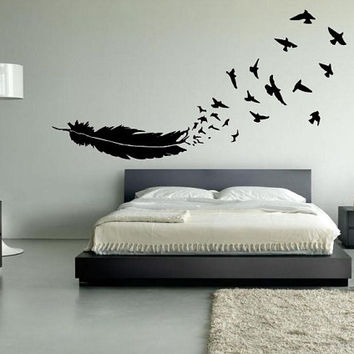 FREE SHIPPING Birds of a Feather Wall Decal Custom Size and Color