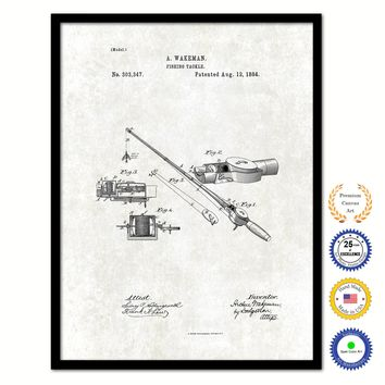 1884 Fishing Tackle Vintage Patent Artwork Black Framed Canvas Print Home Office Decor Great for Fisherman Cabin Lake House