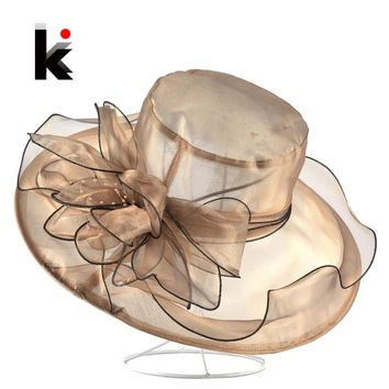 Wide Brim Organza Flower Beach Hat For Women Breathable Summer Anti-UV Bucket Caps Ladies Wedding Chapeau Kentucky Derby Hats