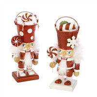 Wooden Nutcracker Candy Bucket Head Christmas Ornaments, 7-1/2-Inch, 2-Piece