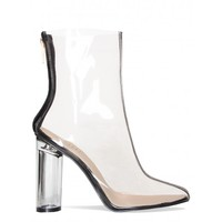 Nora Black Clear Perspex Pointed Ankle Boots : Simmi Shoes