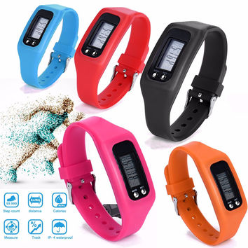 Bracelet Watches Women Men Clock Sports Digital LCD Pedometer Watch Run Running Step Walking Distance Calorie Counter Watch