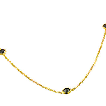 Sterling Silver Gold Plated Black Spinel By The Yard  Bezel Necklace 36 Inch