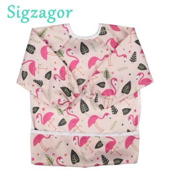 [Sigzagor]1 Baby Bib Feeding Waterproof Long Sleeve ShirtToddler Painting Drawing With Pocket 1-3 years old 18 Choices