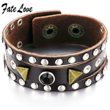 FASHION JEWELRY PONK Style Rock ROll Jewelry Leather Bracelet Hip pop bangle