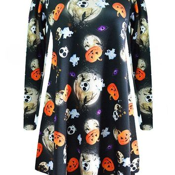 Halloween Pumpkin Print Long Sleeve O-neck Women Dresses