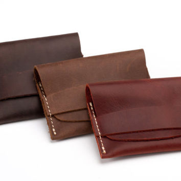 Leather Card Wallet, Front Pocket Wallet, Gift Ideas for Him/Her - Minimalist Wallet, Distressed Leather Wallet