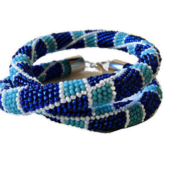 Bead Crochet Rope Necklace in Cobalt Blue, Turquoise and White. Seed beads jewelry.