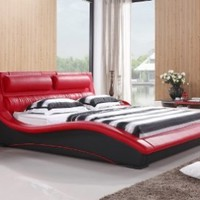 Napoli Modern Platform Bed Red/black (King)