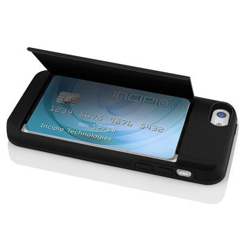 The Black STOWAWAY™ Credit Card Case with Integrated Stand for iPhone 5c