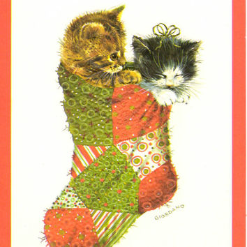 Vintage Kitten Stocking Christmas Card Unused Giordano Greeting With Envelope Norcross Cat Patchwork