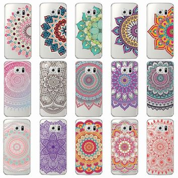Vintage Indian Floral Henna Yoga Soft  Phone Case Cover For Samsung Galaxy 6 S7 Edge S8
