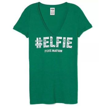 "Victoria's Secret PINK NATION ""#ELFIE"" V Neck T Shirt"