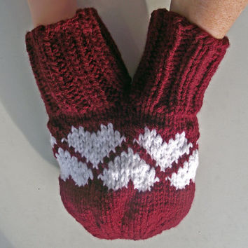 Smitten, Love-Glove, Couples Double Mitten, Burgundy + White Hearts, Claret Knitted Double Mitten, Maroon Lovers Mitten, Valentines Day Gift