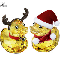 Swarovski Christmas Crystal Figurines HAPPY DUCK SANTA & REINDEER #5004497