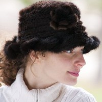 Women's Knitted Mink Fur Hat with Flower, MAHOGANY, Size 1 Size