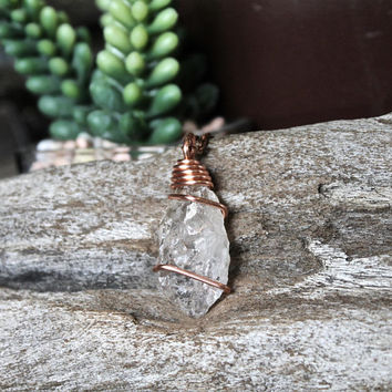 Raw Crystal Necklace, Elestial Quartz Jewelry, Rough Stone Pendant, Rustic Wedding Jewelry, Bohemian Bridesmaid Gift for Her, Festival Style